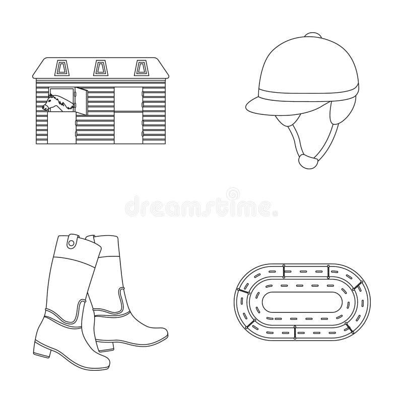 Ботинки, трава, стадион, след, остатки Значки собрания Hippodrome и лошади установленные в плане вводят запас в моду символа вект иллюстрация штока