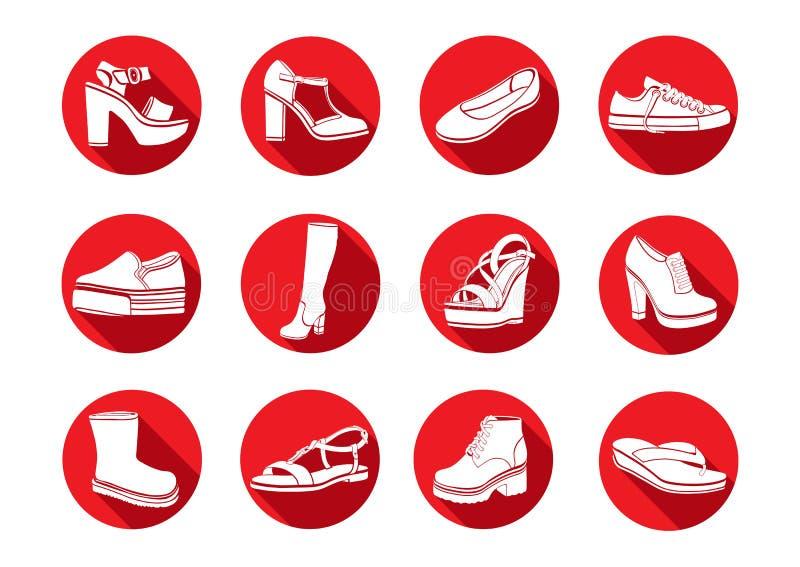 Ботинки установленные значков вектора плоских Белые сандалии значков, ботинки, низкий ботинок, тапочки балета, высокий ботинок, g иллюстрация штока