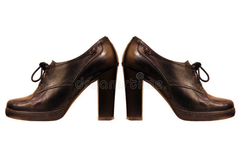 Ботинки чернокожей женщины изолированные на белой предпосылке стоковое фото rf