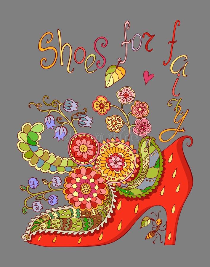 Ботинки для феи с красивыми цветками Красочный вектор doodle иллюстрация штока