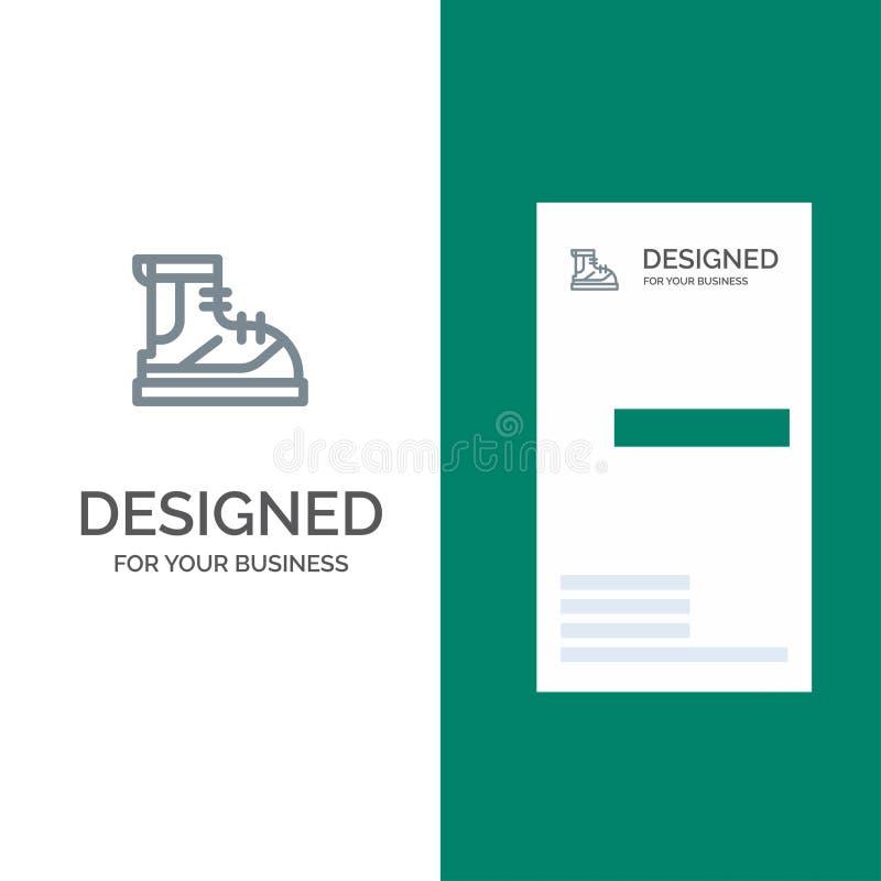 Ботинки, Hiker, пеший туризм, след, дизайн логотипа ботинка серые и шаблон визитной карточки бесплатная иллюстрация