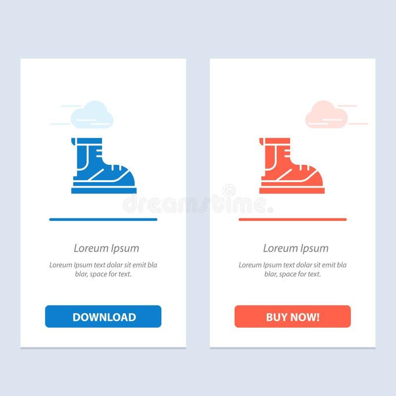 Ботинки, Hiker, пеший туризм, след, синь ботинка и красная загрузка и купить теперь шаблон карты приспособления сети бесплатная иллюстрация