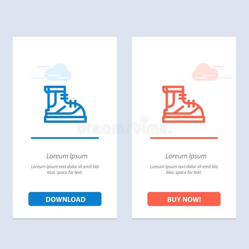 Ботинки, Hiker, пеший туризм, след, синь ботинка и красная загрузка и купить теперь шаблон карты приспособления сети иллюстрация штока