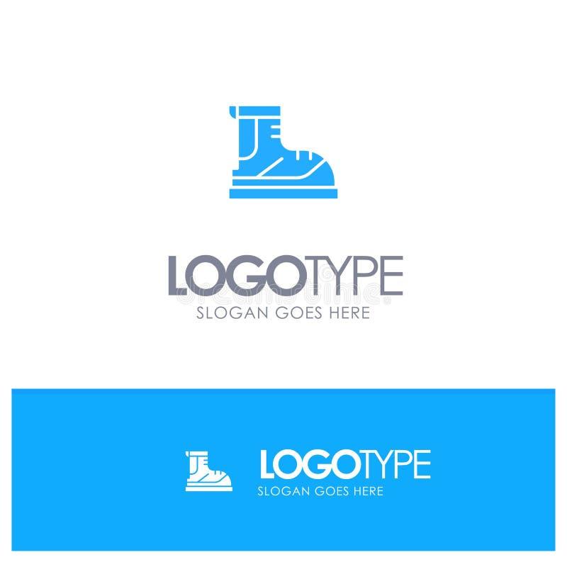 Ботинки, Hiker, след, вектор логотипа ботинка голубой бесплатная иллюстрация