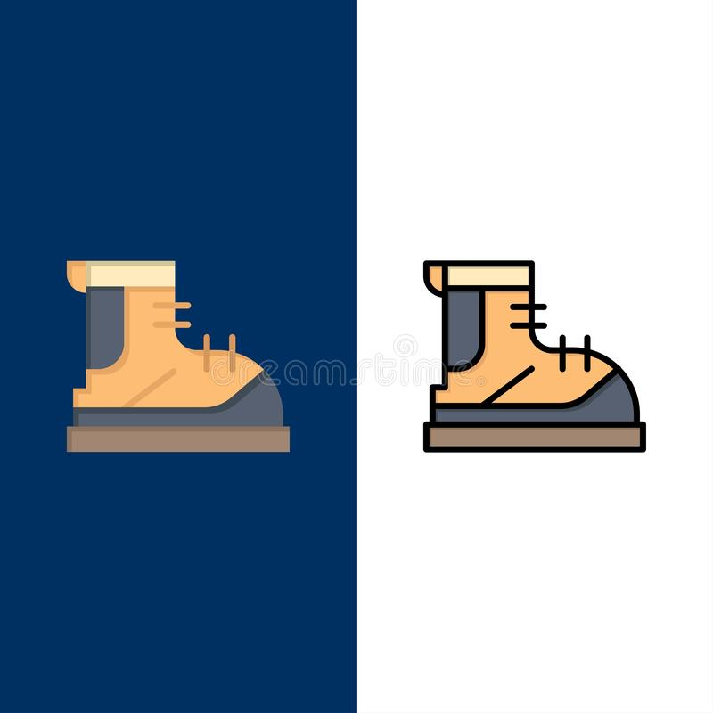 Ботинки, Hiker, след, значки ботинка Квартира и линия заполненный значок установили предпосылку вектора голубую бесплатная иллюстрация