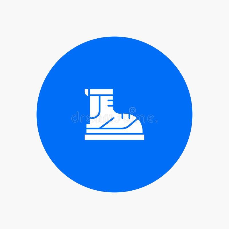 Ботинки, Hiker, след, значок глифа ботинка белый иллюстрация вектора