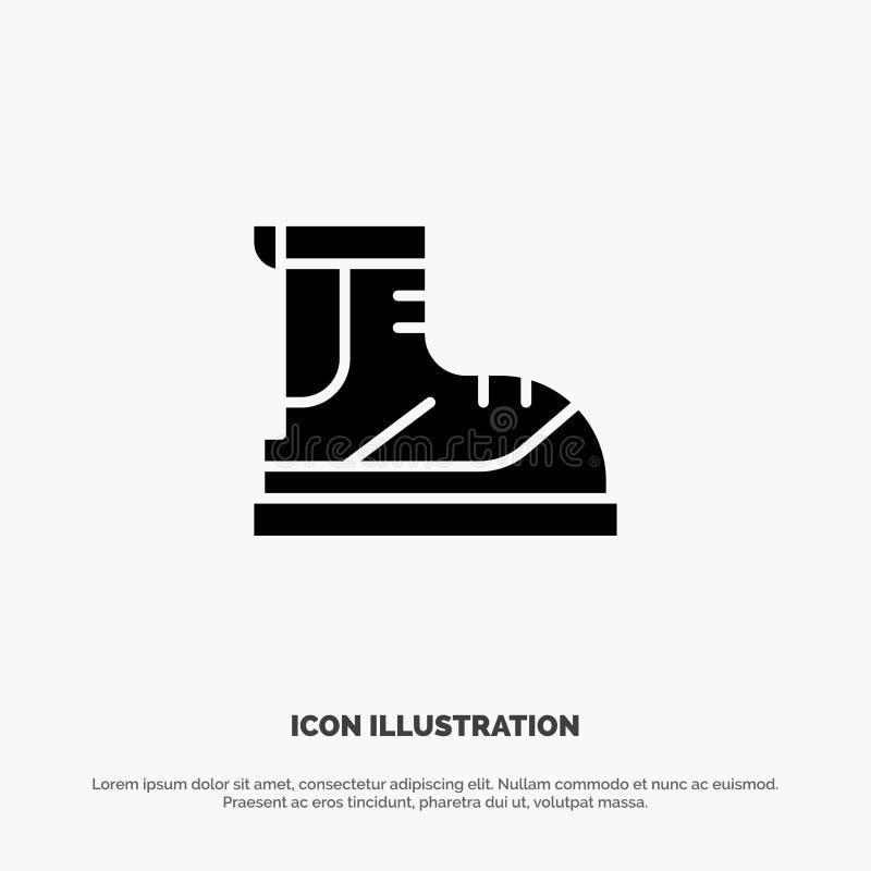 Ботинки, Hiker, след, значок глифа ботинка твердый черный бесплатная иллюстрация