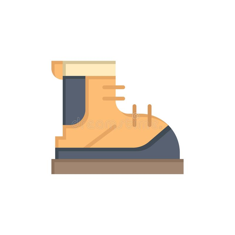 Ботинки, Hiker, след, значок цвета ботинка плоский Шаблон знамени значка вектора бесплатная иллюстрация