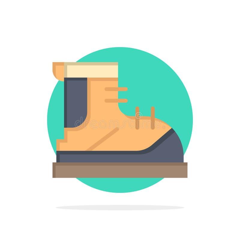Ботинки, Hiker, след, значок цвета предпосылки круга конспекта ботинка плоский иллюстрация вектора