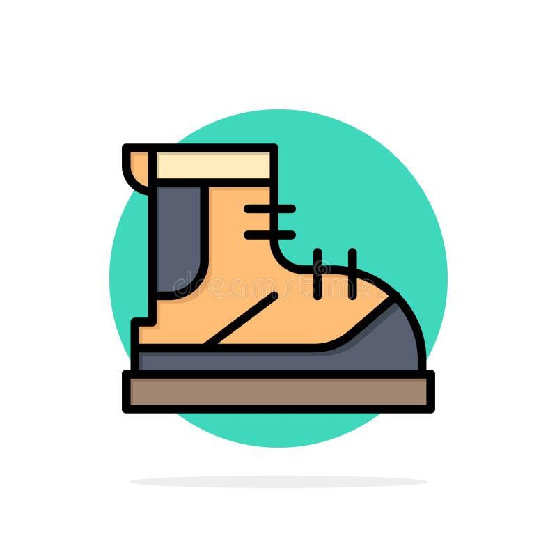 Ботинки, Hiker, след, значок цвета предпосылки круга конспекта ботинка плоский иллюстрация штока