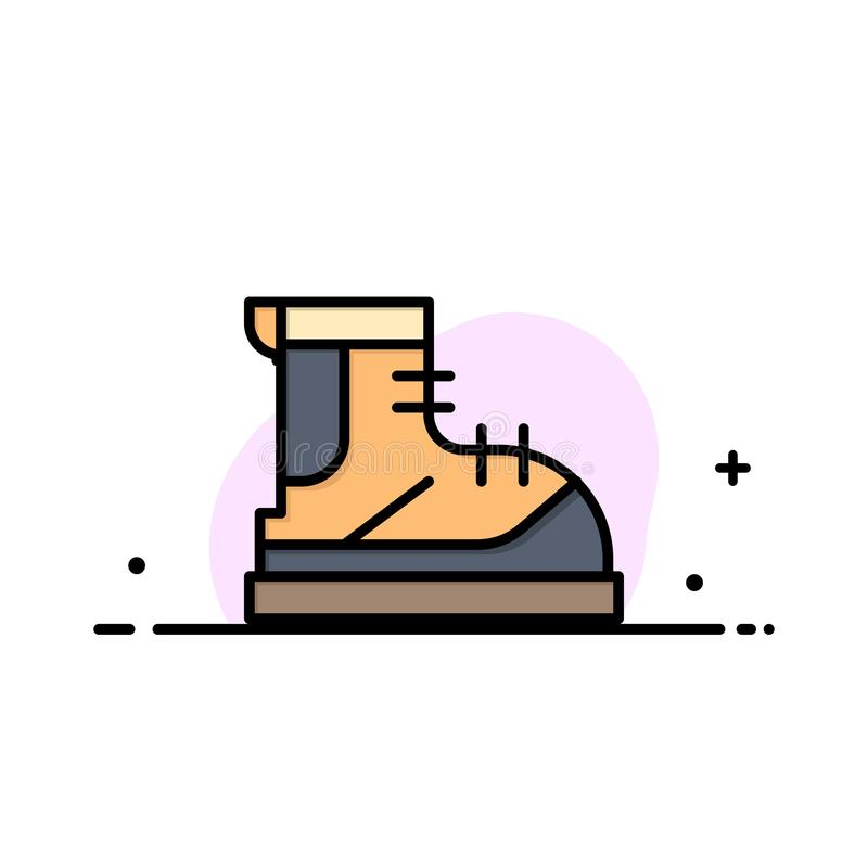 Ботинки, Hiker, след, линия дела ботинка плоская заполнили шаблон знамени вектора значка бесплатная иллюстрация