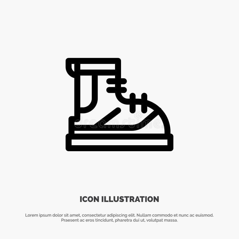 Ботинки, Hiker, след, линия значок вектора ботинка иллюстрация штока