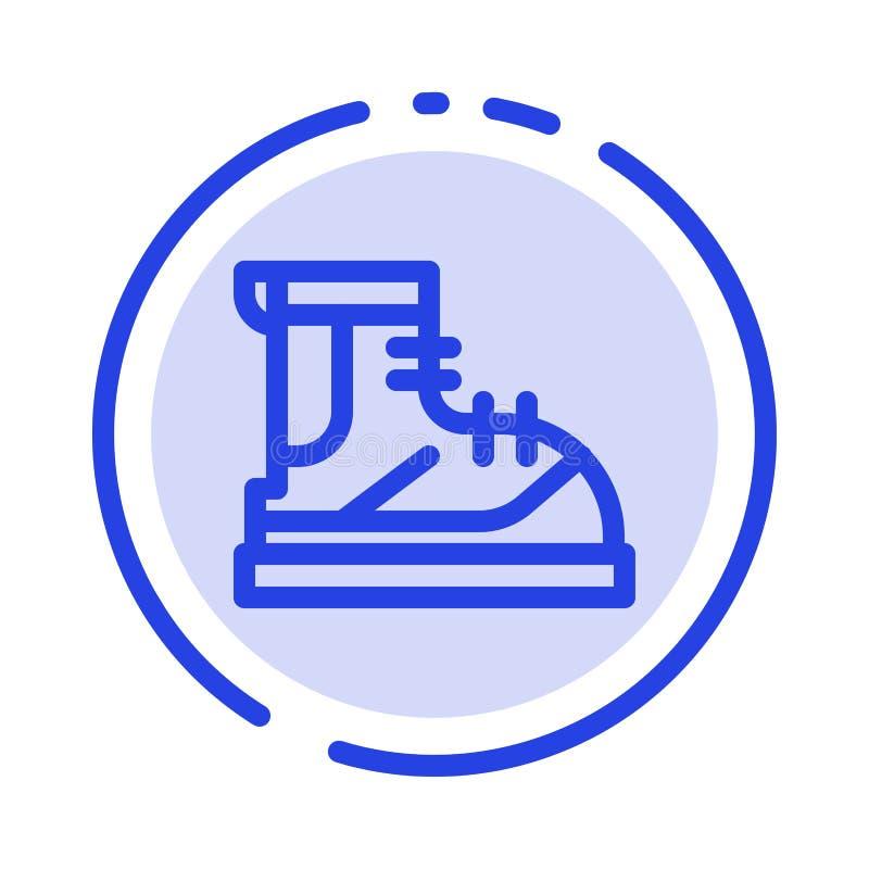 Ботинки, Hiker, след, линия значок голубой пунктирной линии ботинка иллюстрация штока