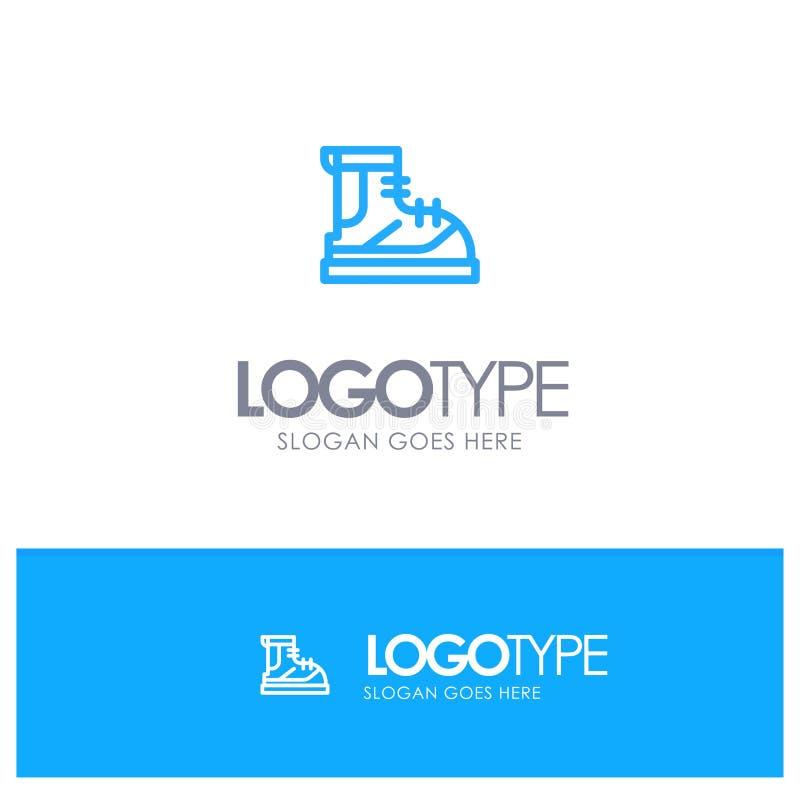 Ботинки, Hiker, след, линия стиль логотипа ботинка голубая бесплатная иллюстрация