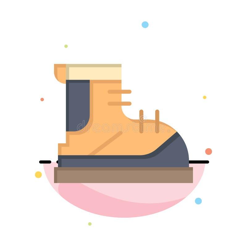 Ботинки, Hiker, след, шаблон значка цвета конспекта ботинка плоский иллюстрация вектора