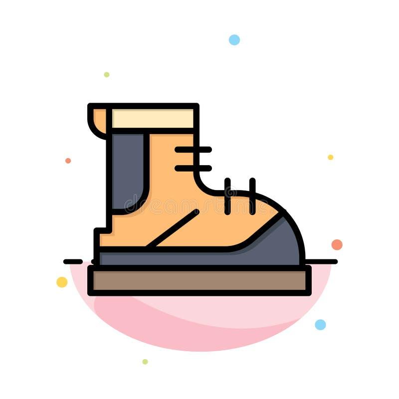 Ботинки, Hiker, след, шаблон значка цвета конспекта ботинка плоский бесплатная иллюстрация