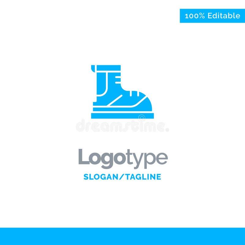 Ботинки, Hiker, след, шаблон логотипа дела ботинка голубой бесплатная иллюстрация