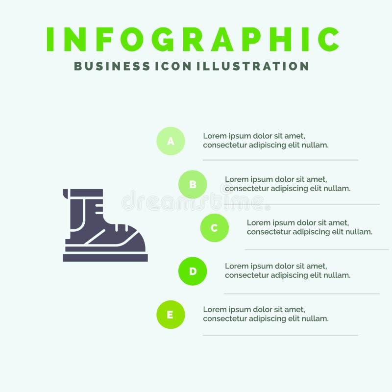 Ботинки, Hiker, след, шаблон представления Infographics ботинка Представление 5 шагов иллюстрация штока