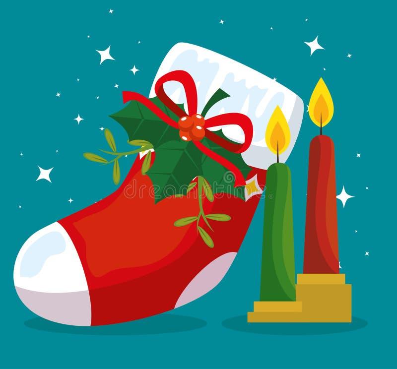 Ботинок веселого рождества со смычком и свечами ленты иллюстрация штока