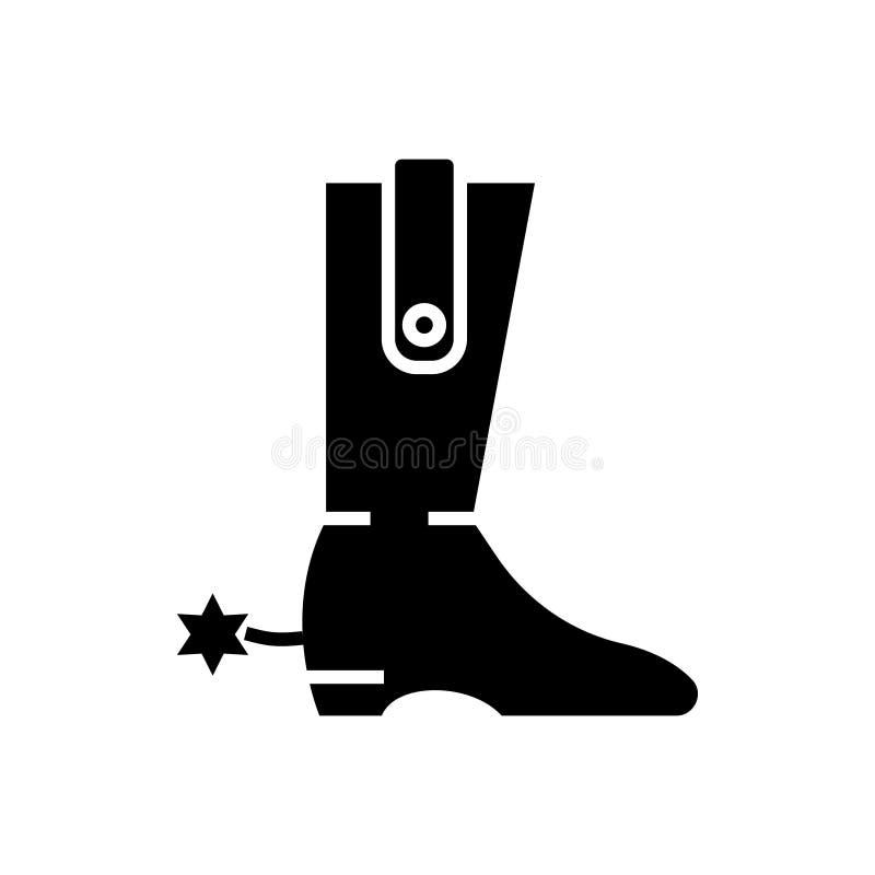 Ботинок - значок ковбоя, иллюстрация вектора, черный знак на изолированной предпосылке иллюстрация штока