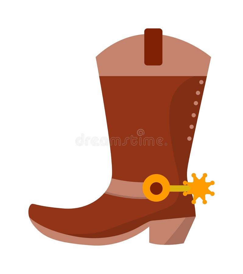 Ботинок ковбоя Диких Западов кожаный с шпорами и звездами Иллюстрация искусства зажима вектора изолированная на белизне иллюстрация штока