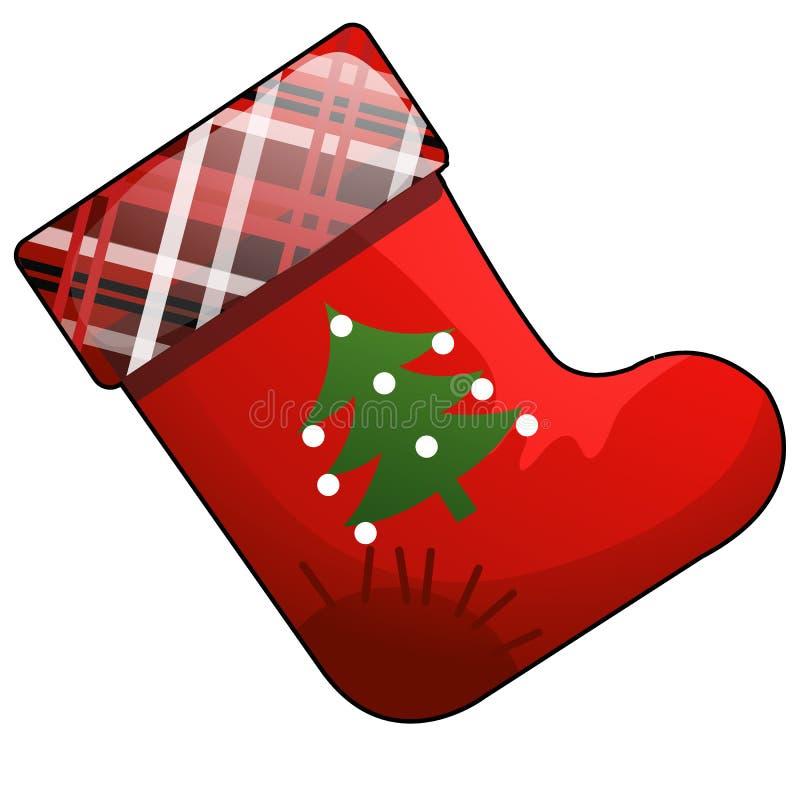 Ботинок мультфильма рождества красный Санта Клауса с заплатой изолированной на белой предпосылке Иллюстрация конца-вверх шаржа ве иллюстрация штока