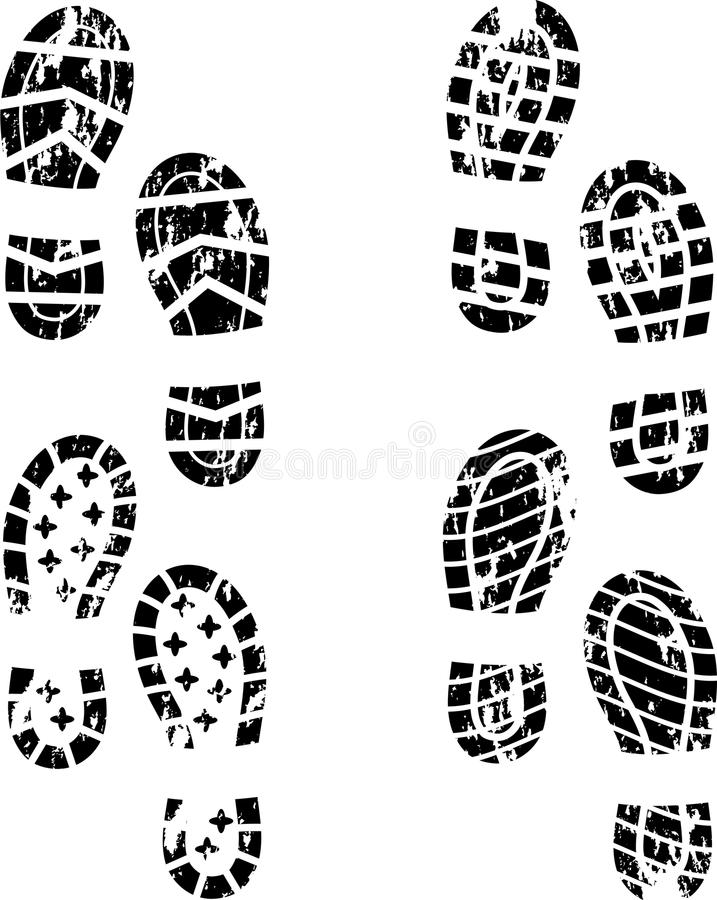 ботинок печати grunge иллюстрация штока