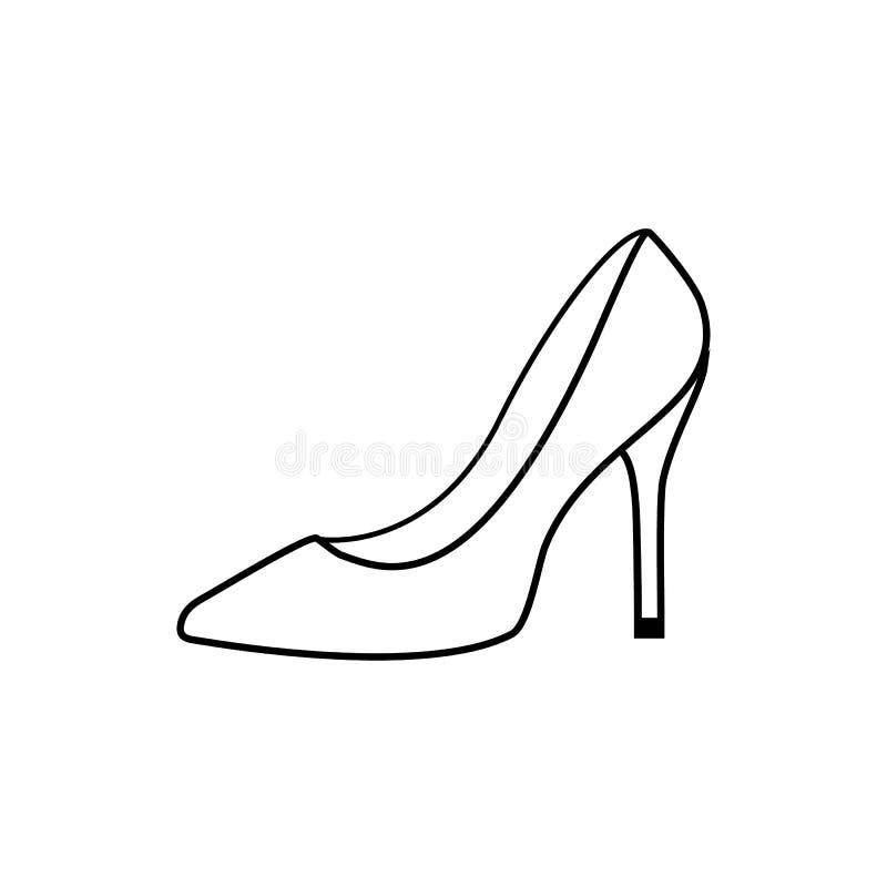Ботинок Monochrome женщин, изолированный на белой предпосылке бесплатная иллюстрация