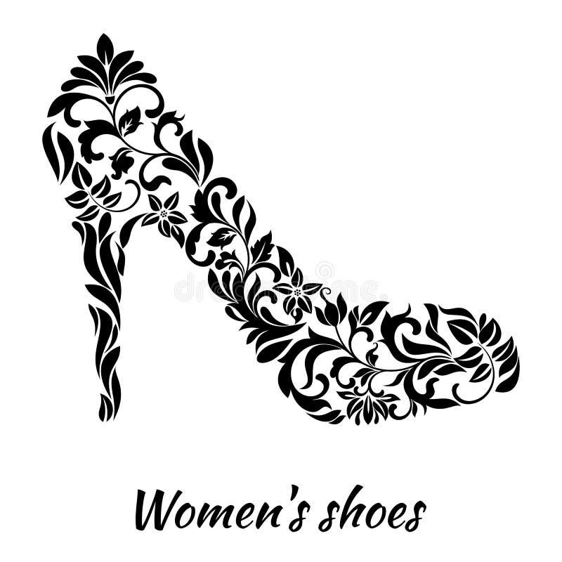 Ботинок ` s женщин от флористического орнамента белая предпосылка иллюстрация штока