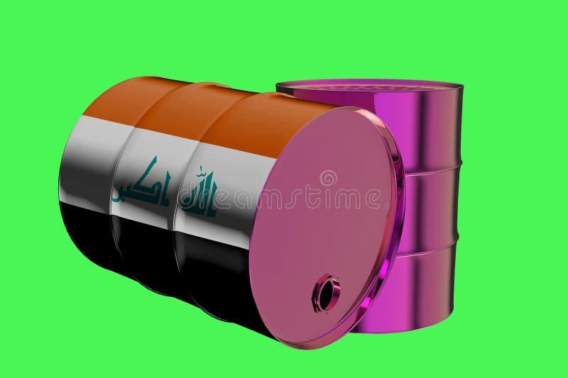 2 бочонка масла металла промышленных с переводом флага 3D Ирака бесплатная иллюстрация