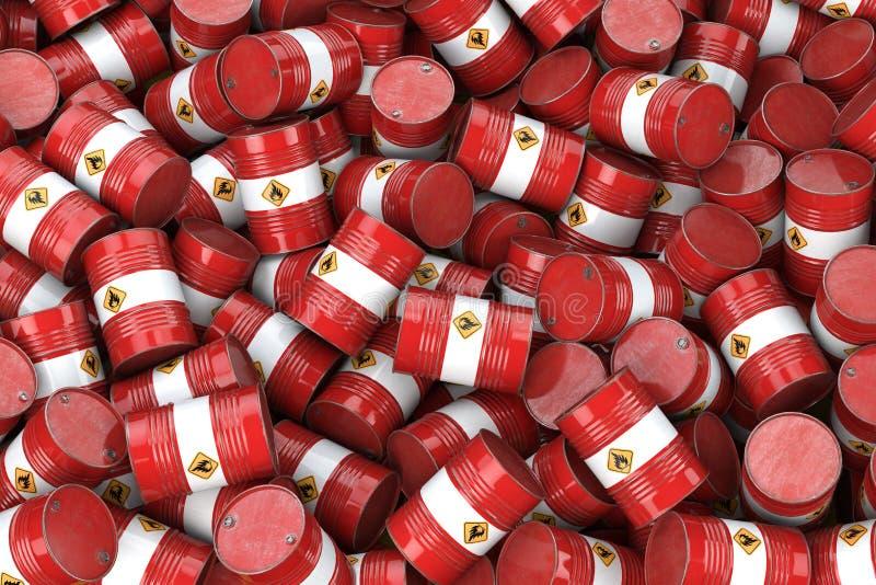 бочонки смазывают красный цвет Нефтяная промышленность нефти и газ, хранение, производство Химическая концепция отхода загрязнени иллюстрация штока