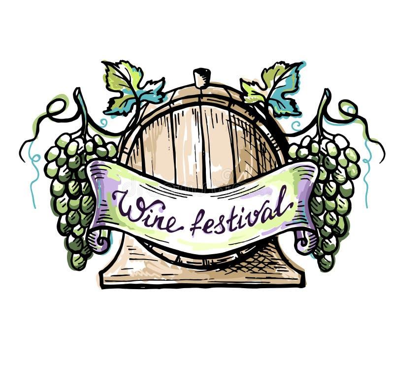Бочонок акварели деревянные и виноградина ленты иллюстрация штока
