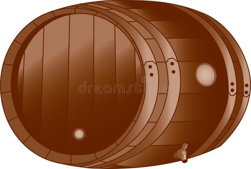 бочонок деревянный иллюстрация вектора