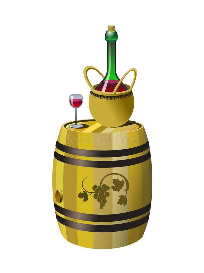 Бочонок и бутылка красного вина иллюстрация штока