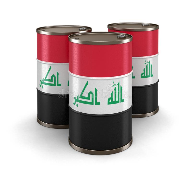 Бочонок масла с флагом Ирака иллюстрация штока