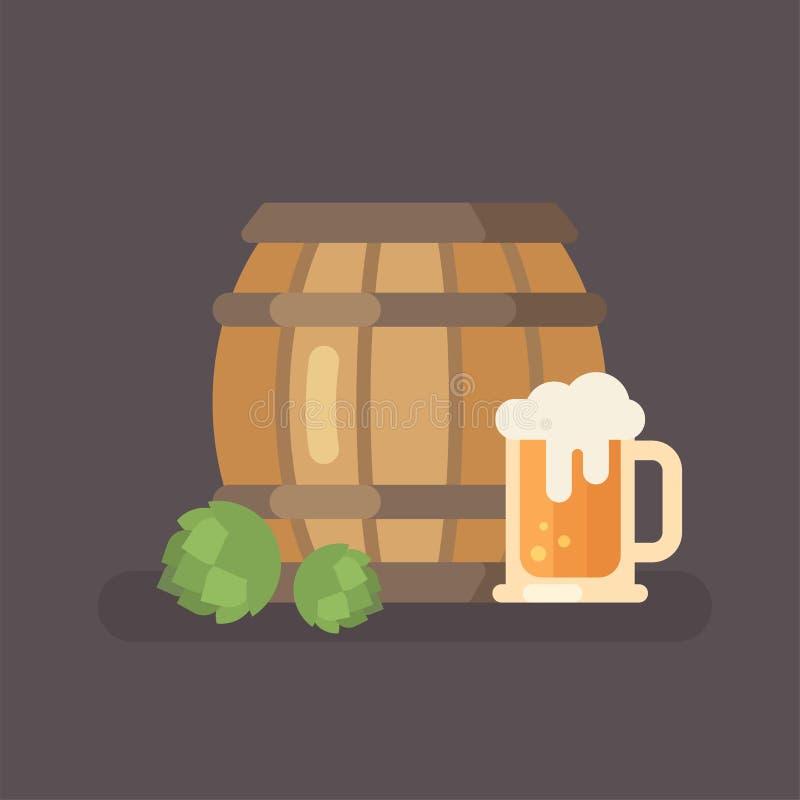 Бочонок пива, хмель и кружка пива бесплатная иллюстрация