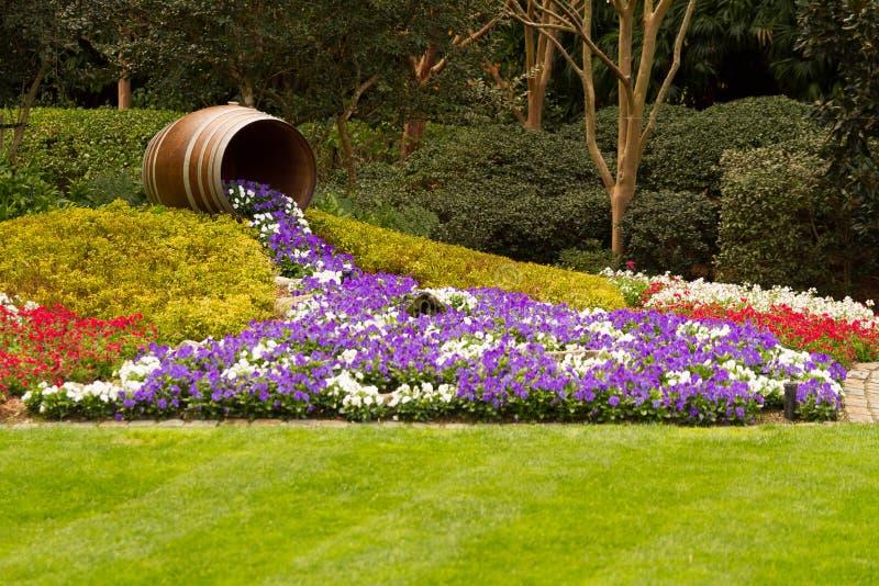 Бочонок с водопадом цветков стоковое изображение