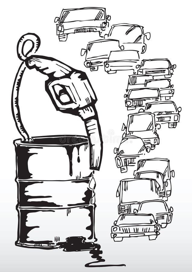 Бочонок топлива и линия автомобилей бесплатная иллюстрация