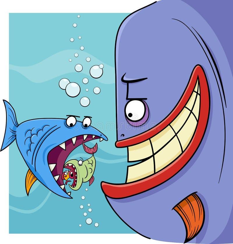 Более большие рыбы говоря иллюстрацию шаржа иллюстрация вектора