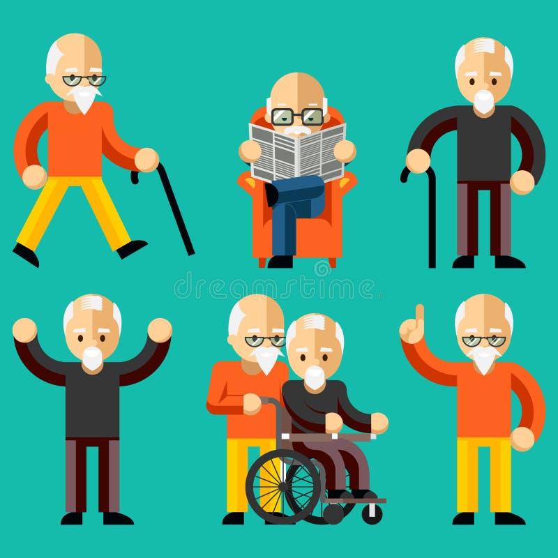 Более старые люди Пожилая деятельность, пожилая забота иллюстрация вектора