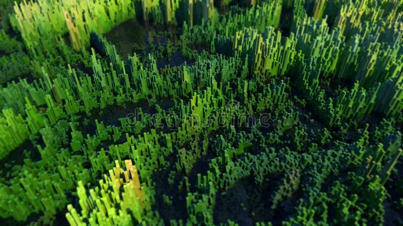 Болотистый ландшафт сделанный из красочных кубов стоковые фотографии rf
