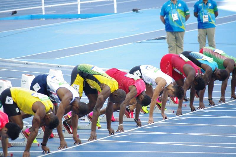 Болт Usain на линии старта 100m на Олимпиадах Rio2016 стоковая фотография