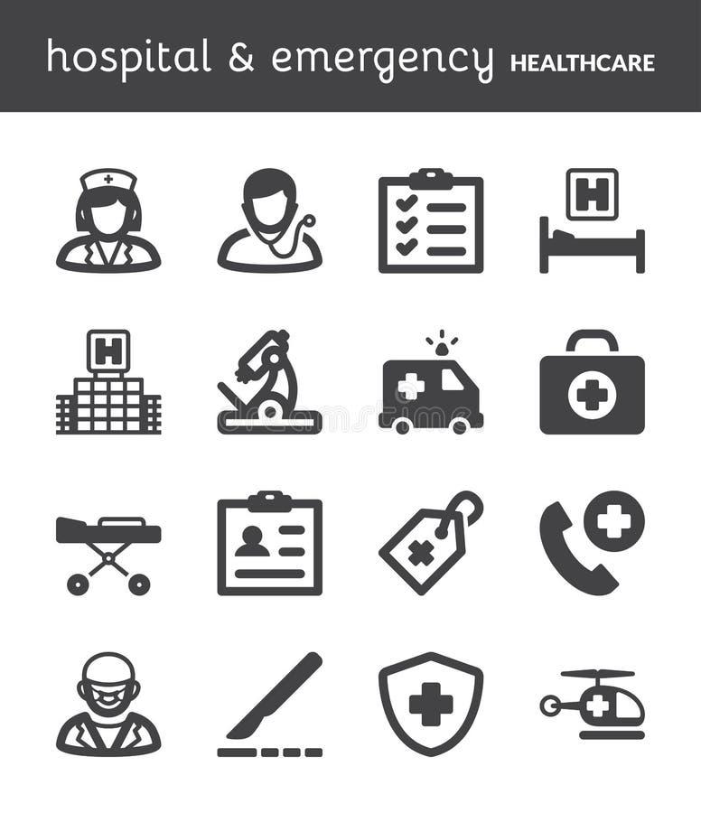 Больница и аварийная ситуация Значки здравоохранения плоские черный бесплатная иллюстрация