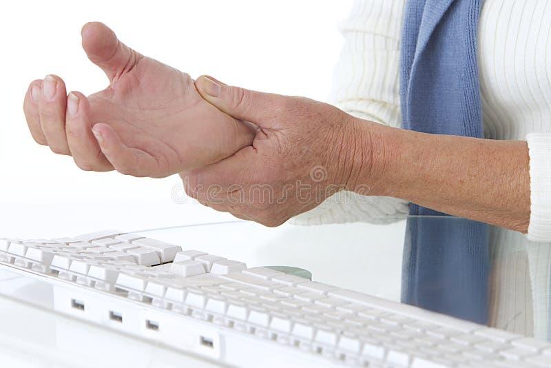 Больное запястье руки - оккупационное заболевание стоковое фото