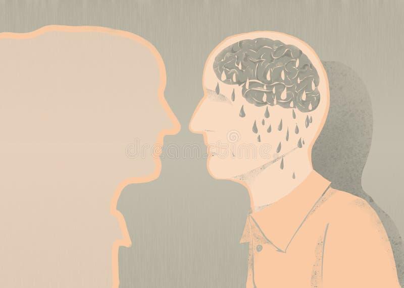 Больной иллюстрации alzheimer и потери памяти бесплатная иллюстрация