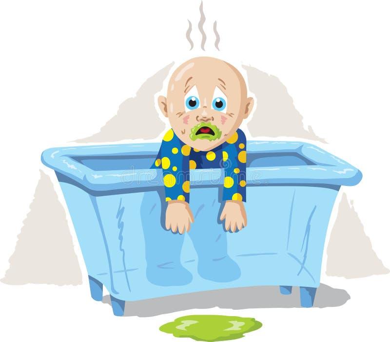 Больной младенец иллюстрация штока