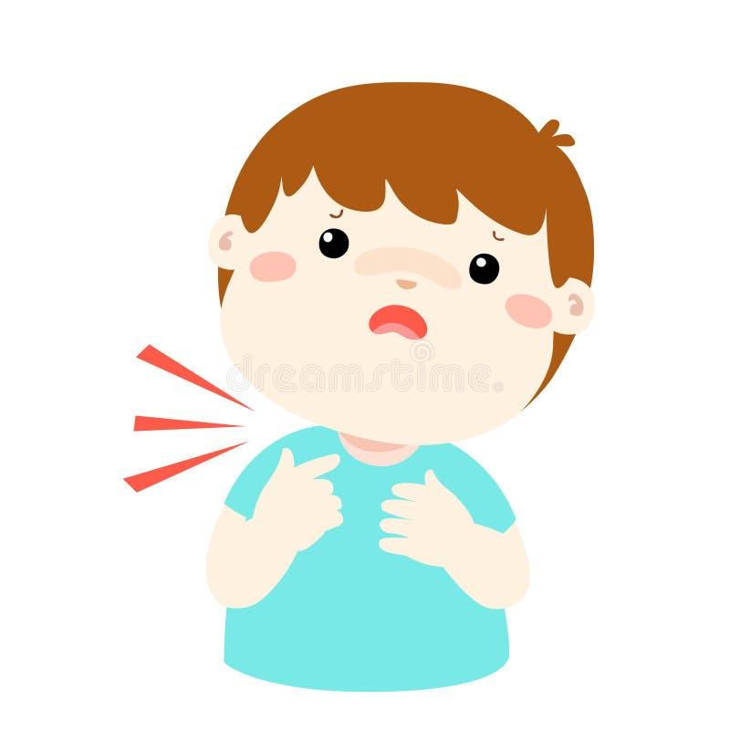 Больной шарж боли в горле мальчика бесплатная иллюстрация