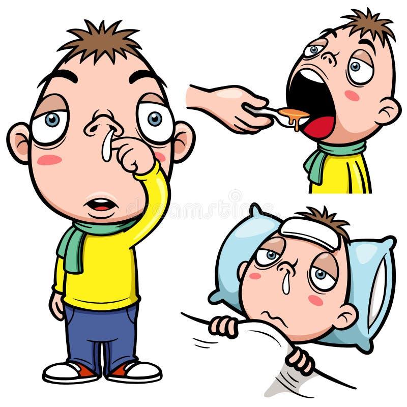Больной шарж мальчика бесплатная иллюстрация
