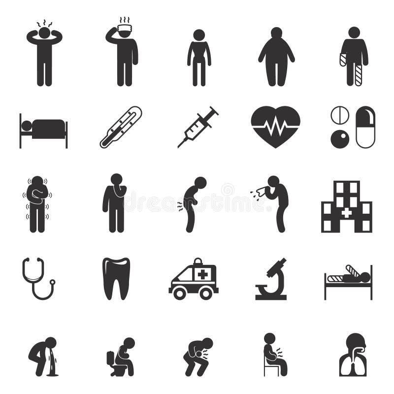 Больные значки Пиктограммы вектора людей иллюстрация вектора