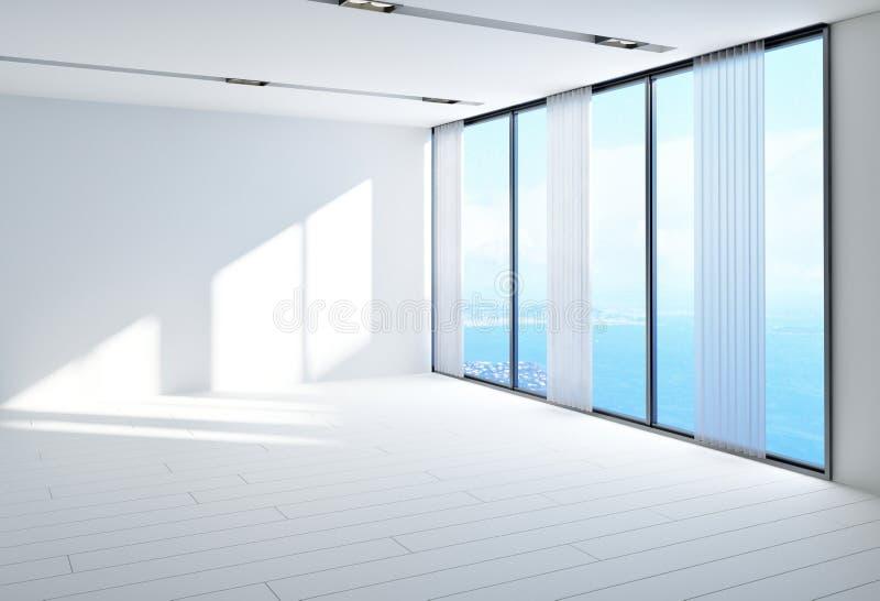 Большая воздушная пустая комната обозревая море иллюстрация вектора